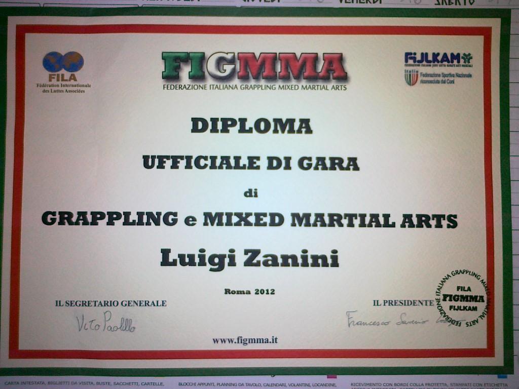 Diploma Arbitro Luigi ZaniniGrappling e MMA (Copia)