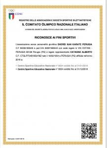 Certificato Coni 2018